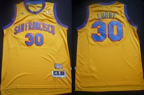San Francisco Warriors #30 Stephen Curry ABA Hardwood Classic Swingman Yellow Jersey