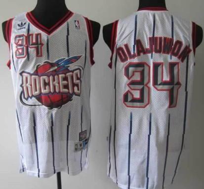 Houston Rocket #34 Hakeem Olajuwon ABA Hardwood Classic Swingman White Jersey