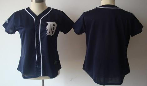 Detroit Tigers Blank Navy Blue Womens Jersey