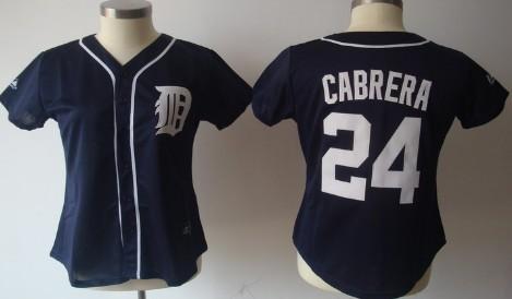 Detroit Tigers #24 Miguel Cabrera Navy Blue Womens Jersey