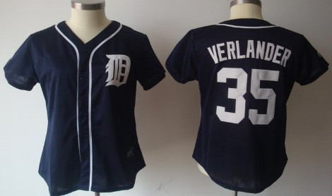 Detroit Tigers #35 Justin Verlander Navy Blue Womens Jersey