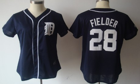 Detroit Tigers #28 Prince Fielder Navy Blue Womens Jersey