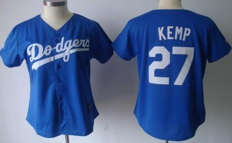 Los Angeles Dodgers #27 Matt Kemp Blue Womens Jersey