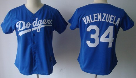 Los Angeles Dodgers #34 Fernando Valenzuela Blue Womens Jersey