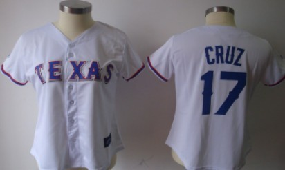 Texas Rangers #17 Nelson Cruz White With Blue Womens Jersey