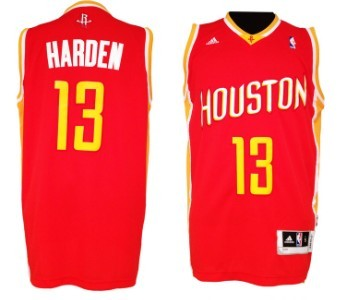 Houston Rockets #13 James Harden Revolution 30 Swingman Red With Gold Jersey