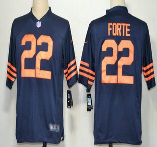 Nike Chicago Bears 22 Matt Forte Blue With Orange Game Jersey