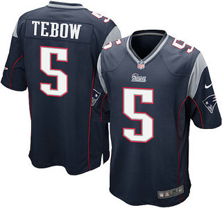 Nike New England Patriots 5 Tim Tebow Blue Game NFL Jersey
