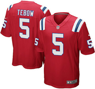 Nike New England Patriots 5 Tim Tebow Red Game NFL Jersey