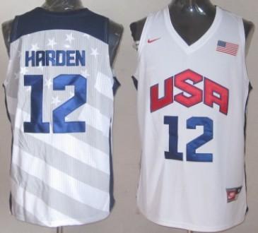 2012 Olympics Team USA #12 James Harden Revolution 30 Swingman White Jersey