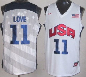 2012 Olympics Team USA #11 Kevin Love Revolution 30 Swingman White Jersey