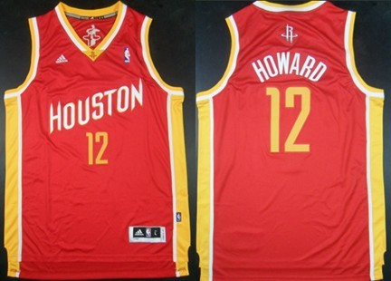 Houston Rockets #12 Dwight Howard Revolution 30 Swingman Red With Gold Jersey