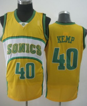 Seattle Supersonics #40 Shawn Kemp 1994-95 Yellow Swingman Jersey