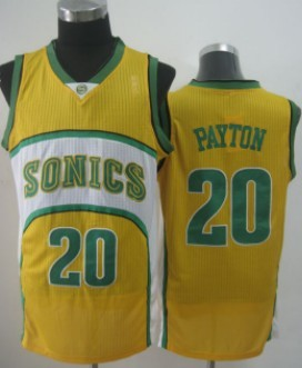 Seattle Supersonics #20 Gary Payton 1994-95 Yellow Swingman Jersey