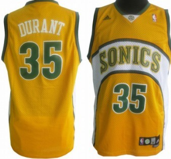 Seattle Supersonics #35 Kevin Durant 1994-95 Yellow Swingman Jersey