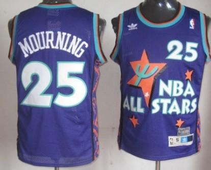 NBA 1995-1996 All-Star #25 Alonzo Mourning Purple Swingman Throwback Jersey