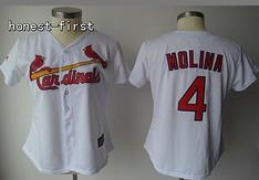 St.Louis Cardinals #4 Molina White Women Jersey