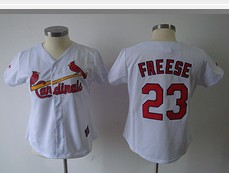 St.Louis Cardinals #23 Freese White Red number Women Jersey