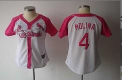 St. Louis Cardinals #4 Molina White Women New Jersey