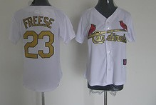 St.Louis Cardinals #23 Freese White Gold number Women Jersey