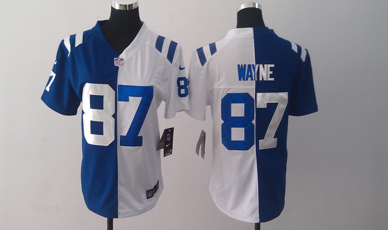 Youth Nike Indianapolis Colts 87 Reggie Wayne Split Elite Blue-White Jerseys