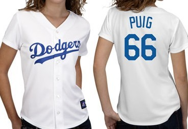 Los Angeles Dodgers #66 Yasiel Puig White With Blue Womens Jersey
