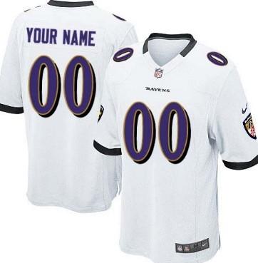 Kids Nike Baltimore Ravens Customized White Game Jersey
