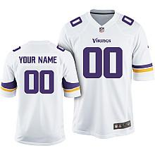 Kids Nike Minnesota Vikings Customized 2013 White Game Jersey