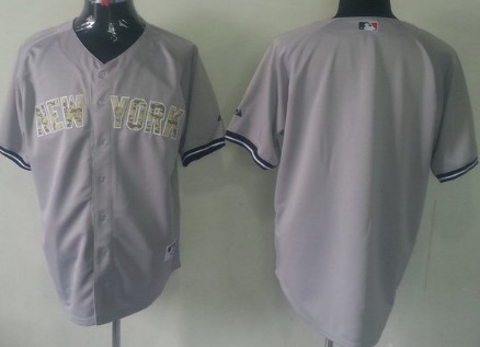 New York Yankees Customized Gray With Camo Jersey