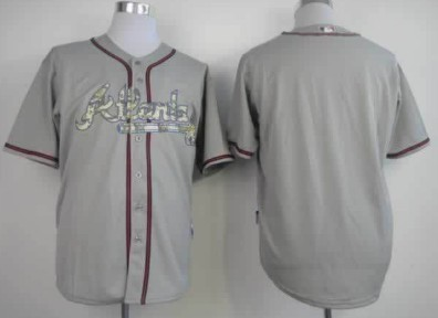 Atlanta Braves Customized Gray With Camo Jersey