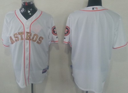 Houston Astros Customized White With Camo Jersey