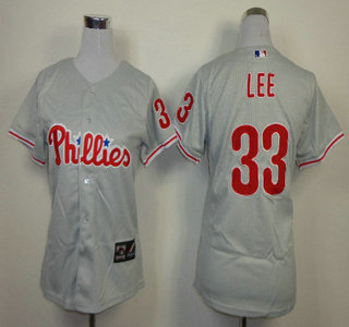 Philadelphia Phillies #33 Cliff Lee Grey Womens Jersey