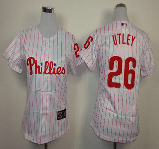 Philadelphia Phillies #26 Chase Utley Red Pinstripe White Womens Jersey