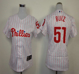 Philadelphia Phillies #51 Carlos Ruiz Red Pinstripe White Womens Jersey