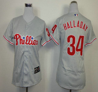Philadelphia Phillies #34 Roy Halladay Grey Womens Jersey