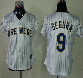 Milwaukee Brewers #9 Jean Segura White Blue Strip Womens Jersey