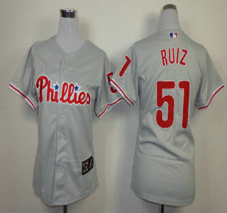 Philadelphia Phillies #51 Carlos Ruiz Grey Womens Jersey