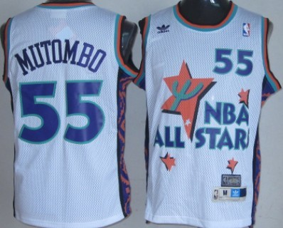 NBA 1995-1996 All-Star #55 Dikembe Mutombo White Swingman Throwback Jersey