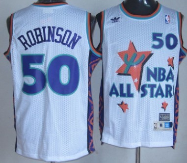 NBA 1995-1996 All-Star #50 David Robinson White Swingman Throwback Jersey