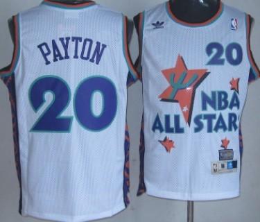 NBA 1995-1996 All-Star #20 Gary Payton White Swingman Throwback Jersey