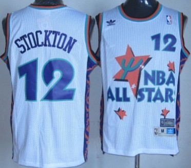NBA 1995-1996 All-Star #12 John Stockton White Swingman Throwback Jersey