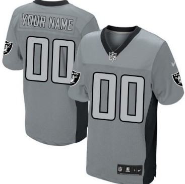 Nike Oakland Raiders Customized Gray Shadow Elite Jersey