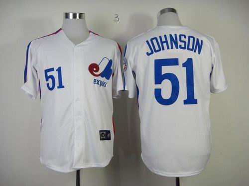 Montreal Expos #51 Randy Johnson White Throwback Baseball Mitchell And Ness Jersey