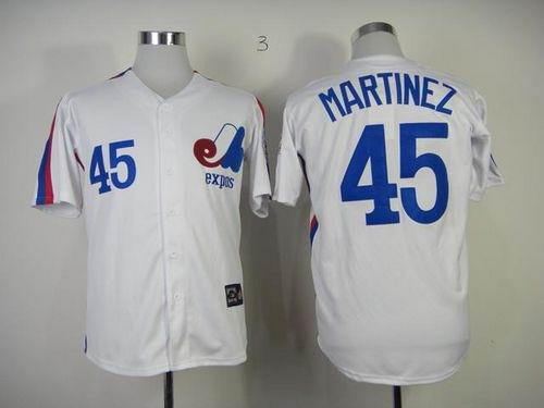 Montreal Expos #45 Pedro Martinez White Throwback Baseball Mitchell And Ness Jersey