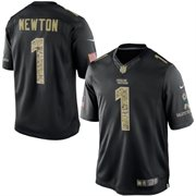 Men's Carolina Panthers Cam Newton Nike Black Salute To Service Jersey