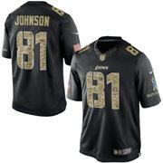 Men's Detroit Lions Calvin Johnson Nike Black Salute To Service Jersey