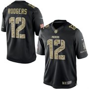 Men's Green Bay Packers Aaron Rodgers Nike Black Salute To Service Jersey