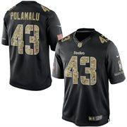Men's Pittsburgh Steelers Troy Polamalu Nike Black Salute To Service Jersey