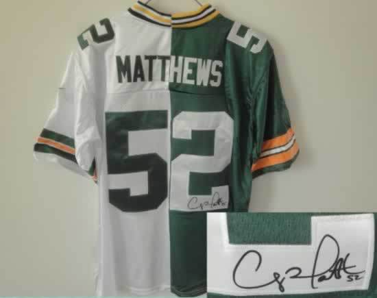 Green Bay Packers #52 Matthews Green&White Split Signed Elite Jersey