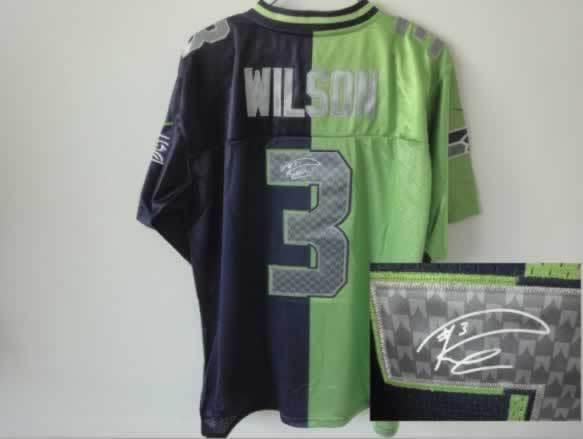 Seattle Seahawks #3 Wilson Green&Blue Split Signed Elite Jersey